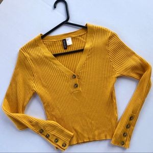 Ribbed crop mustard sweater